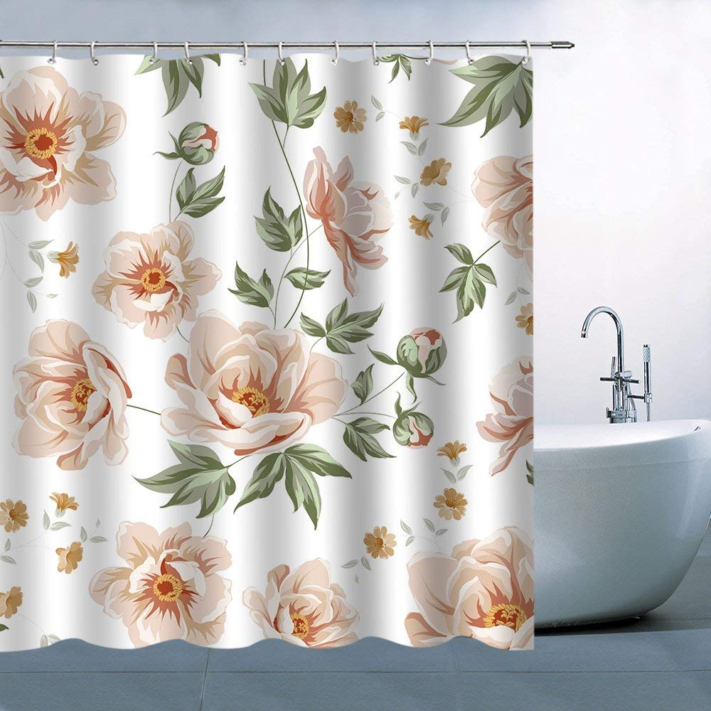 Flower Pattern Theme Shower Curtain Beautiful Lovely Pale Flowers Green Leaves White Background Waterproof Mildew Resistant
