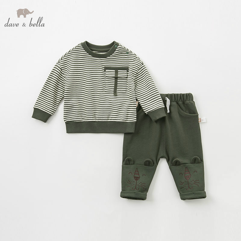 DBA9531 dave bella spring baby boys fashion striped clothing sets kids long sleeve sets children 2