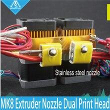 3D Printer Head Latest Upgrade MK8 J-head Extruder Stainless steel Nozzle Hotend kit 0.4mm Dual Print Head Makerbot Prusa i3