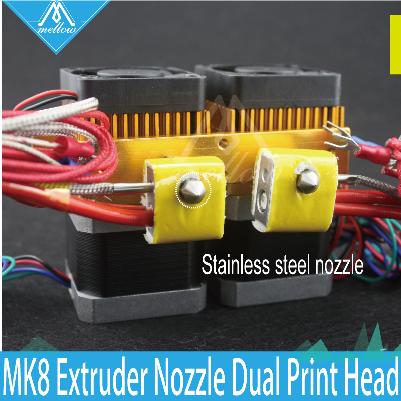 3D Printer Head Latest Upgrade MK8 J-head Extruder Stainless steel Nozzle Hotend kit 0.4mm Dual Print Head Makerbot i3