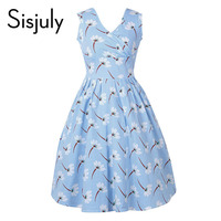 Sisjuly vintage dress women sleeveless a-line mid-calf floral print dress backless v-neck fashion female vintage dress 2017 new