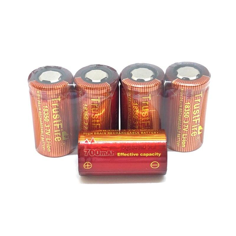 10 pçs/lote TrustFire IMR 18350 700mAh 3.7V Bateria Recarregável Baterias De Alta Capacidade para o Fumo Eletrônico Lanterna
