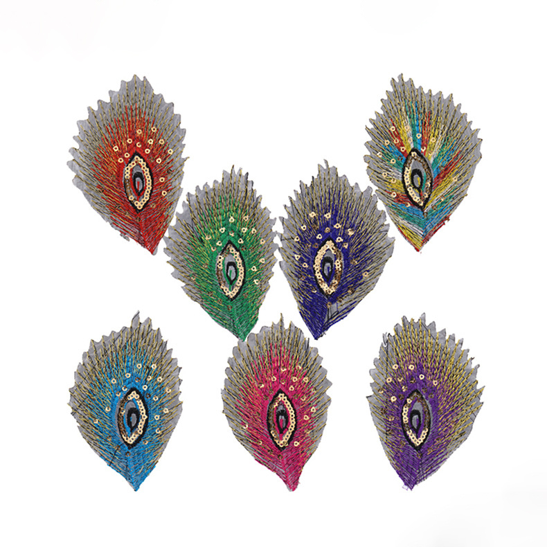 Märke Multicolor Peacock Feather Broderade applikationer Patchwork Iron På Patches För Kläder Sy Accessoarer