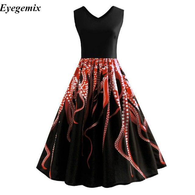 0407d3c8a8c ... Audrey Hepburn Vintage Dress Black Color Octopus Print Summer Retro  Dress Summer Plus Size Rockabilly Feminino ...