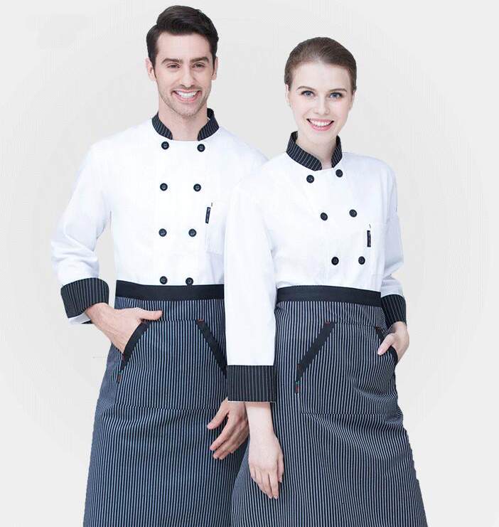 Image 3 - New Chef Jacket Hotel Restaurant Work Wear Double breasted Mens Kitchen Chef Uniform Cook Clothes Food Services Frock Coats 89-in Chef Jackets from Novelty & Special Use