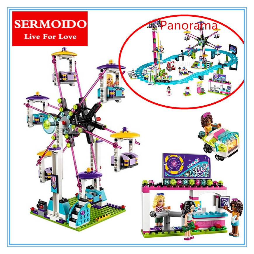 SERMOIDO 01008 1124Pcs Park Roller Coaster Building Blocks City Girls Friend Amusement Compatible With Bricks Toys 41130 capacitas