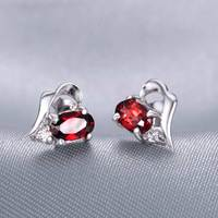 Natural Red Garnet Earrings Stud 925 Sterling silver Women's Fine Elegant Gem Jewelry Girl Birthstone Valentine Christmas Gift