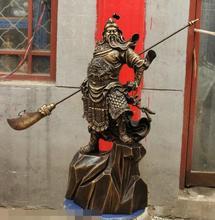 free shipping S06564 32″ China Pure Bronze Stand Stone Lion Dragon Warrior GuanGong GuanYu God Statue