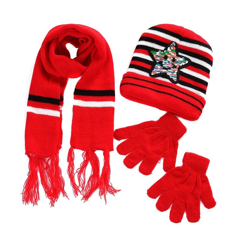 Children Winter Warm Knitted Beanie Cap Scarf Gloves Set Sequin Pentagram Pattern AIC88