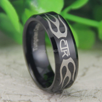 Free Shipping USA UK Canada Russia Brazil Hot Sales 8MM Black Beveled Religion CTR Ring New