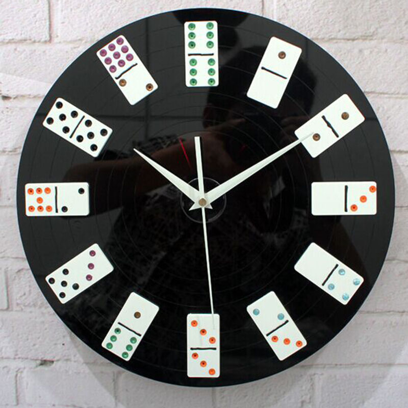 Dice Decorative Wall Clock Black Hanging Vinyl Record Clock Modern Design Poker Chip Interior Decor Unique Gifts