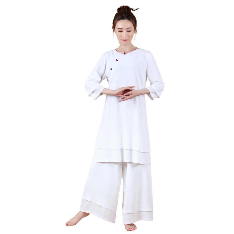 2018 中国風の秋綿とリネンヨガのスーツの女性のマニュアルボタン唐装中国トップス服ブラウス