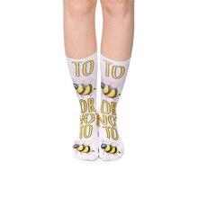 Hot Sale 10 Colors Emoji Bee Long Socks Women Funny Sock Cute Unisex 3D Print Sokken