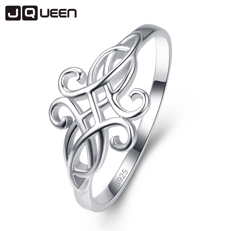 JQUEEN Vintage 100% Real 925 Sterling Silver Fine Jewelry For Women Classical Hollow Carving Rings Wedding Ring