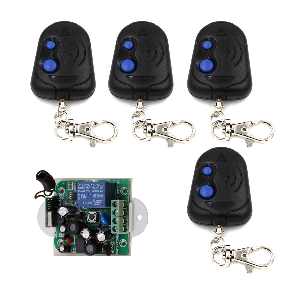 Black 2Key 85V 110V 250V 1CH Wireless Remote Control Switch 1*Receiver +4* Transmitters for Appliances Gate Garage Door black 2key 85v 110v 250v 1ch wireless remote control switch 1 receiver 4 transmitters for appliances gate garage door