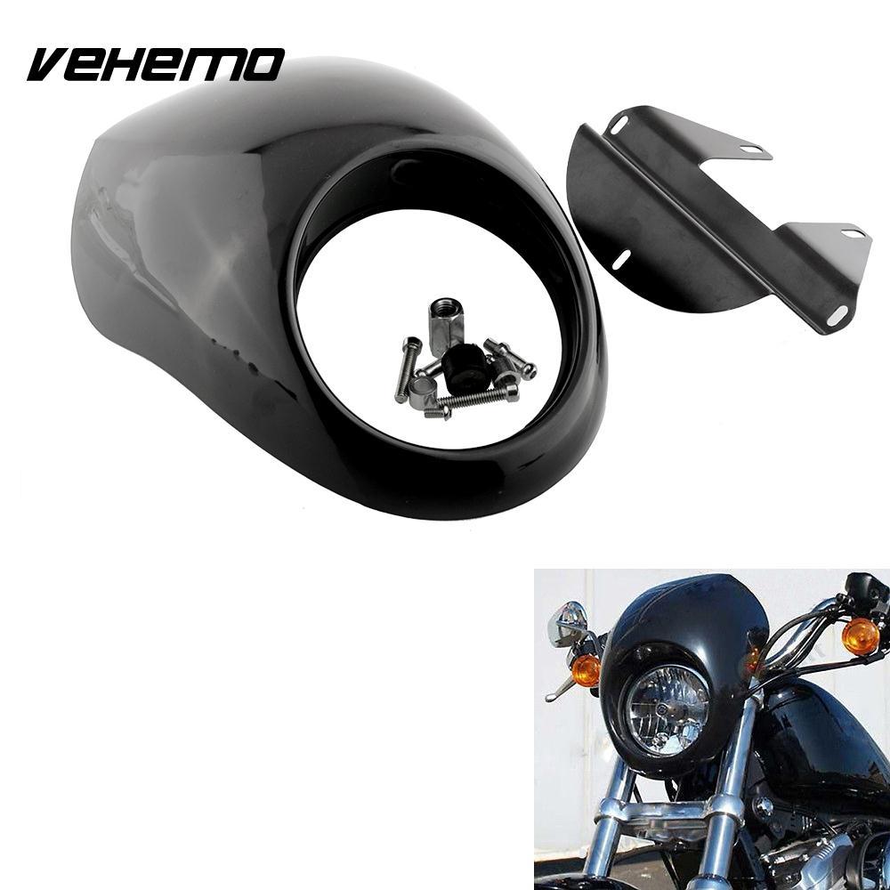 Vehemo Черный Фар Пластик Переднего Козырек Обтекателя Прохладный Маска Крышка Безель Для Harley Спортстер Мотоцикл Авто