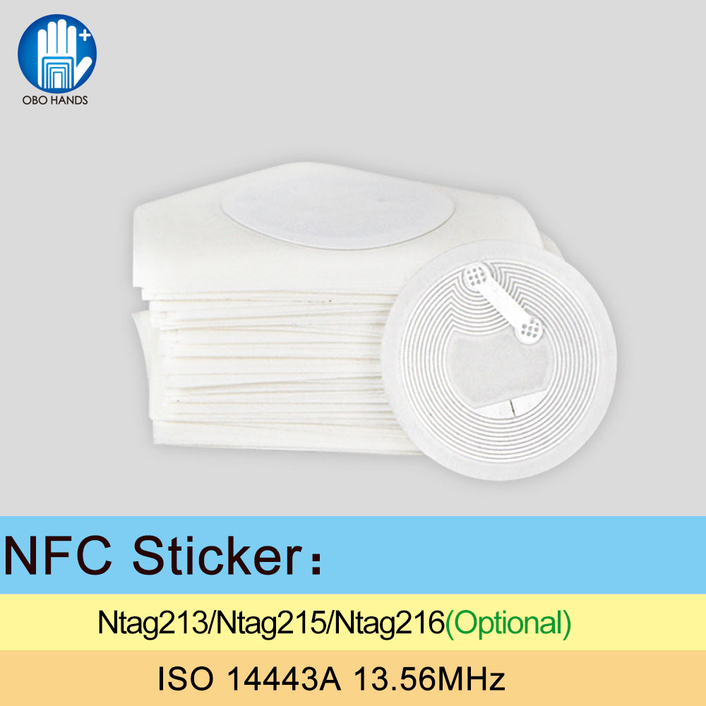 Rfid Ntag213 Ntag215 Ntag216 Nfc Paper Stickers Tag 13.56mhz With 144/504/888byte Memory For Smart Phone Diam 25mm 1000pcs Access Control Cards