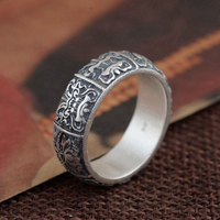 925 Sterling Silver Ring Animal Pattern 100% Real S925 Thai Silver Rings for women Jewelry Male Men Size 6 12.5