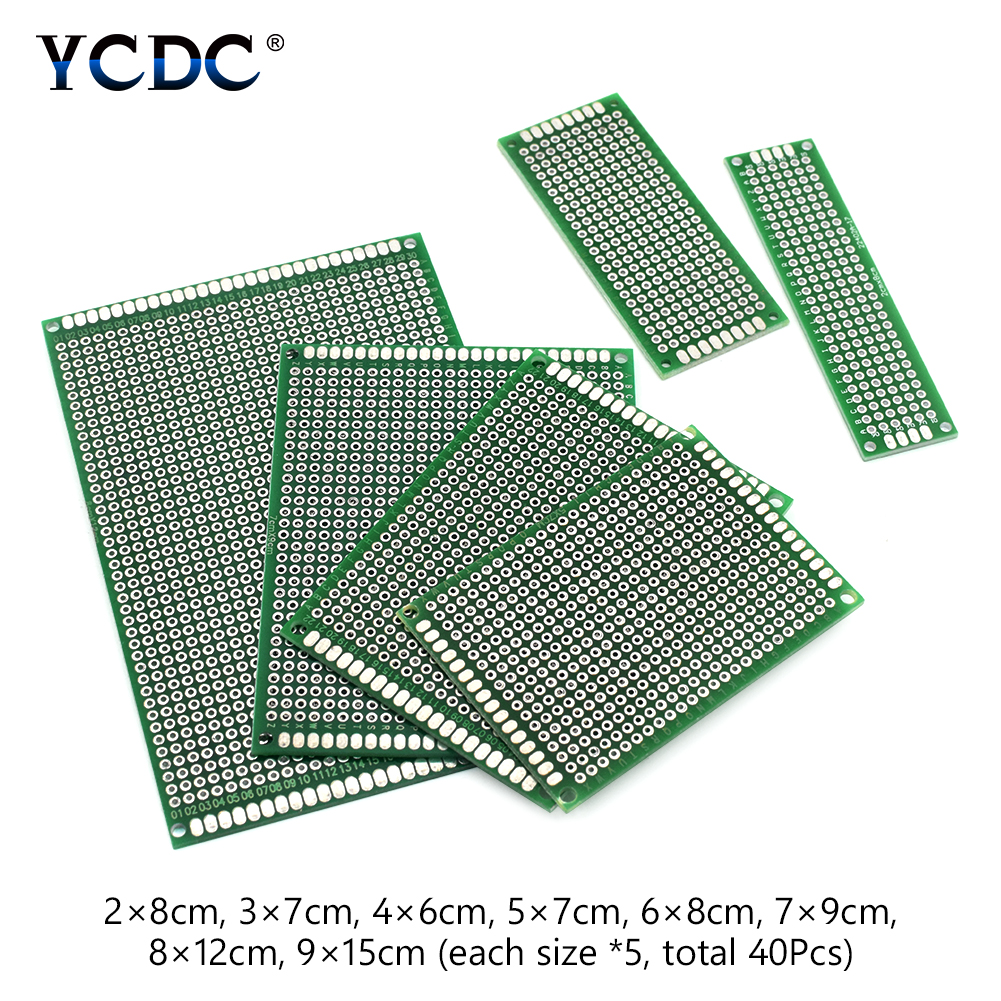 40 pcs Double-side Protoboard Circuit Prototype DIY PCB Board 2x8 3x7 4x6 5x7cm