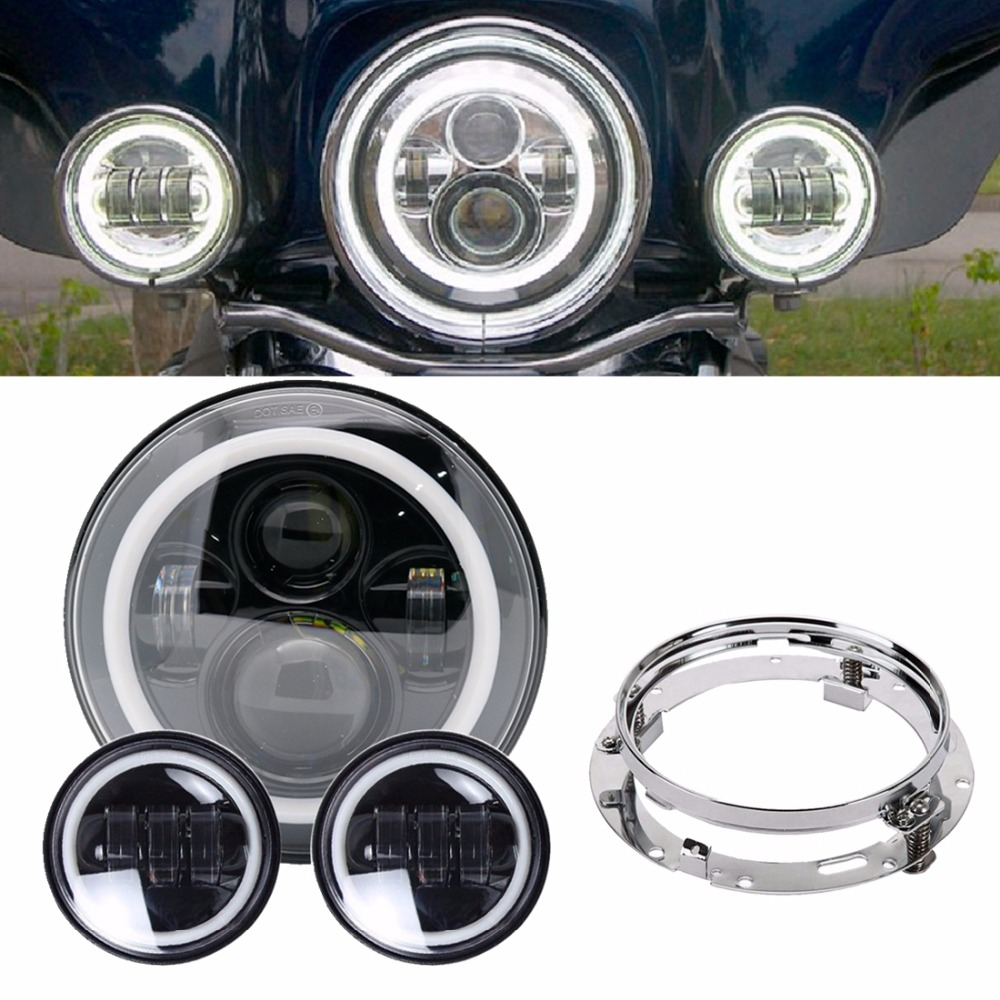 7 inch Angel Eye Round LED Headlight white DRL+ 4.5 Fog Lights 7 Bracket For Harley Road King Street Glide Yamaha Motorcycle 7 inch led headlight motorbike suit 7headlight monting ring fog lights for harley davidson electra glide road king street glide