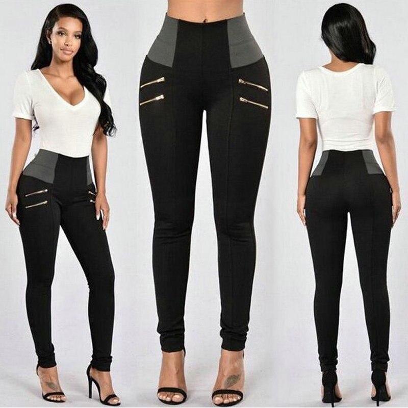 Women 39 s Black Pants Pencil Trousers Spring Fall Fake Zippers Elastic Waist Slim Ladies Trousers Female Sweatpants Grey Pants in Pants amp Capris from Women 39 s Clothing