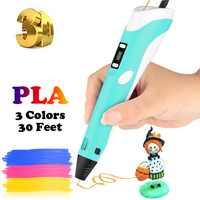 Dikale lapiz 3d impressão caneta 2nd generation impresora 3d imprimante caneta lápis pla filamento para o miúdo adulto diy presente de aniversário