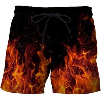 Fire Printed Beach Shorts Men