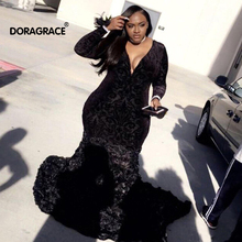 African Black Girls Mermaid Prom Dresses Black Lace Long Sleeves Handmade Flowers Evening Party Gowns black lace details long sleeves knitwear