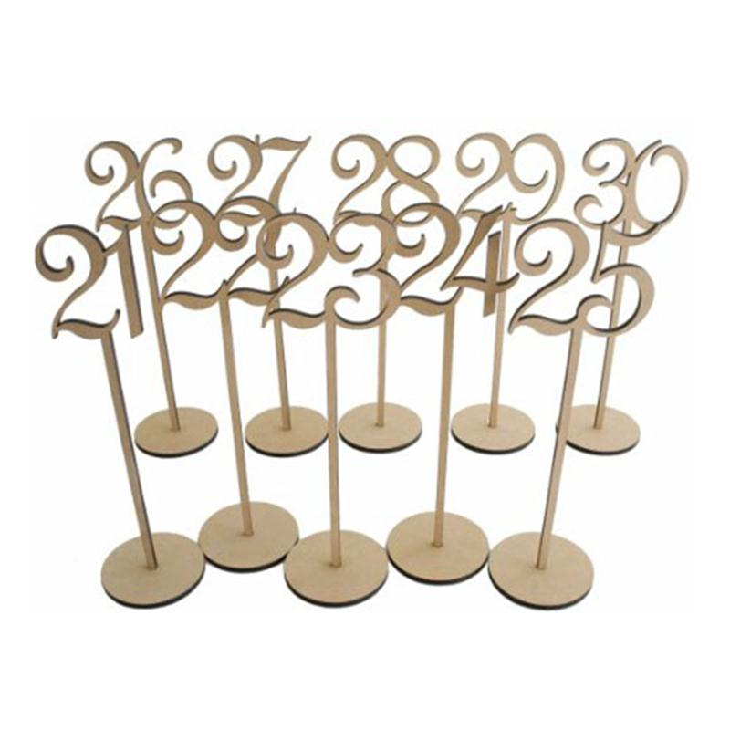 10pcs Numbers 21-30 Hot Style Wooden Wedding Supplies Wedding Place Holder Table Number Figure Card Digital Seat Decoration Latest Fashion Home & Garden Festive & Party Supplies