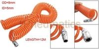 Free Shipping 8mm OD Polyurethane Pneumatic Coiled Air Hose Tube Orange 12M Length