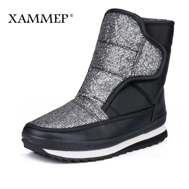 Xammep/женская зимняя обувь, большой размер, высокое качество, Брендовая женская обувь, плюшевые и шерстяные теплые женские зимние ботинки, сапоги до середины икры