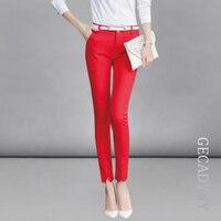 Formal Ladies Office Work Wear Trousers 2017 Spring Summer Women OL Style Black Red Capris Pants