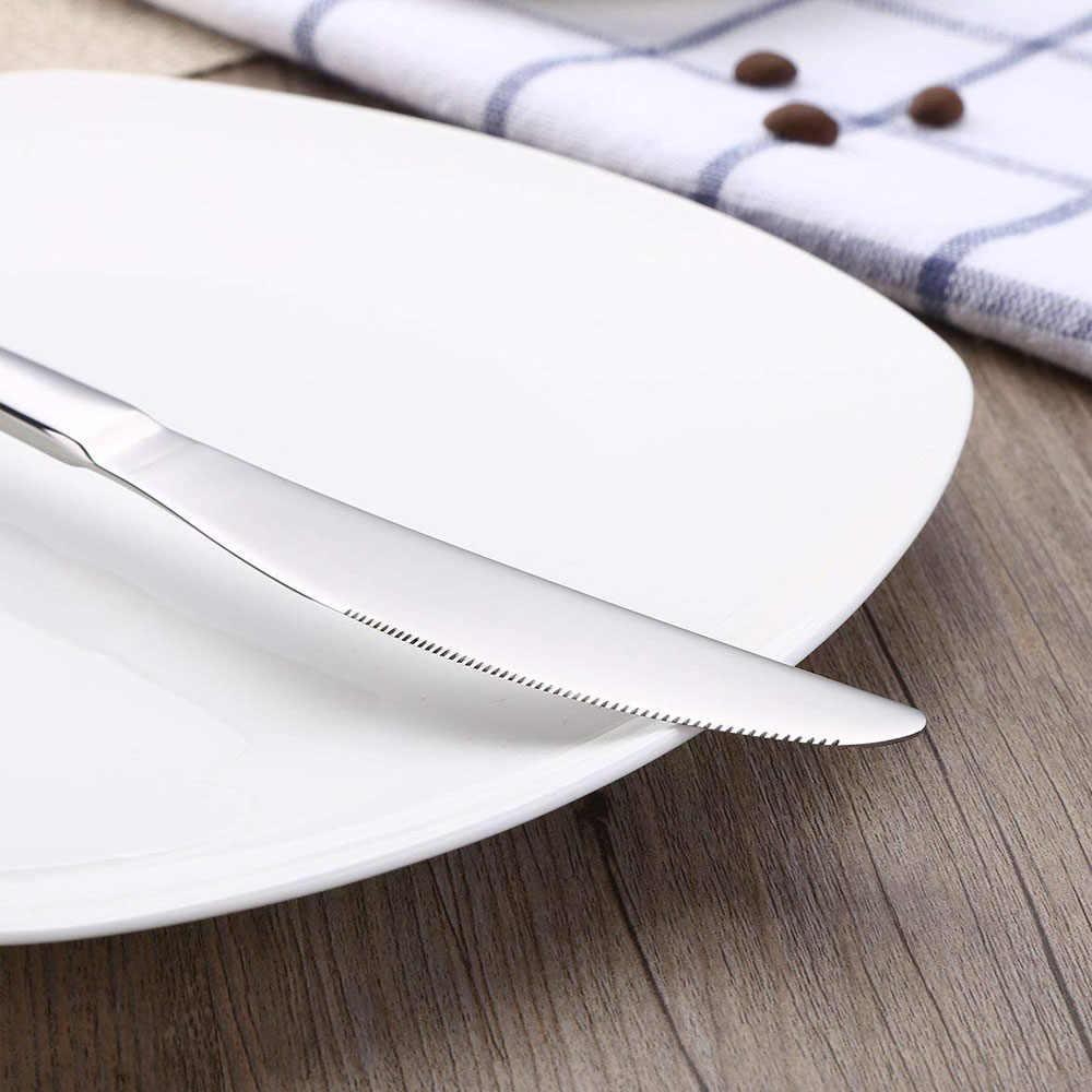 24 PCS ชุดช้อนส้อมชุดเครื่องเงินไม้กล่องกระจกสแตนเลสขัดชุดช้อน Flatware อาหารเย็นไม้ของขวัญกล่อง