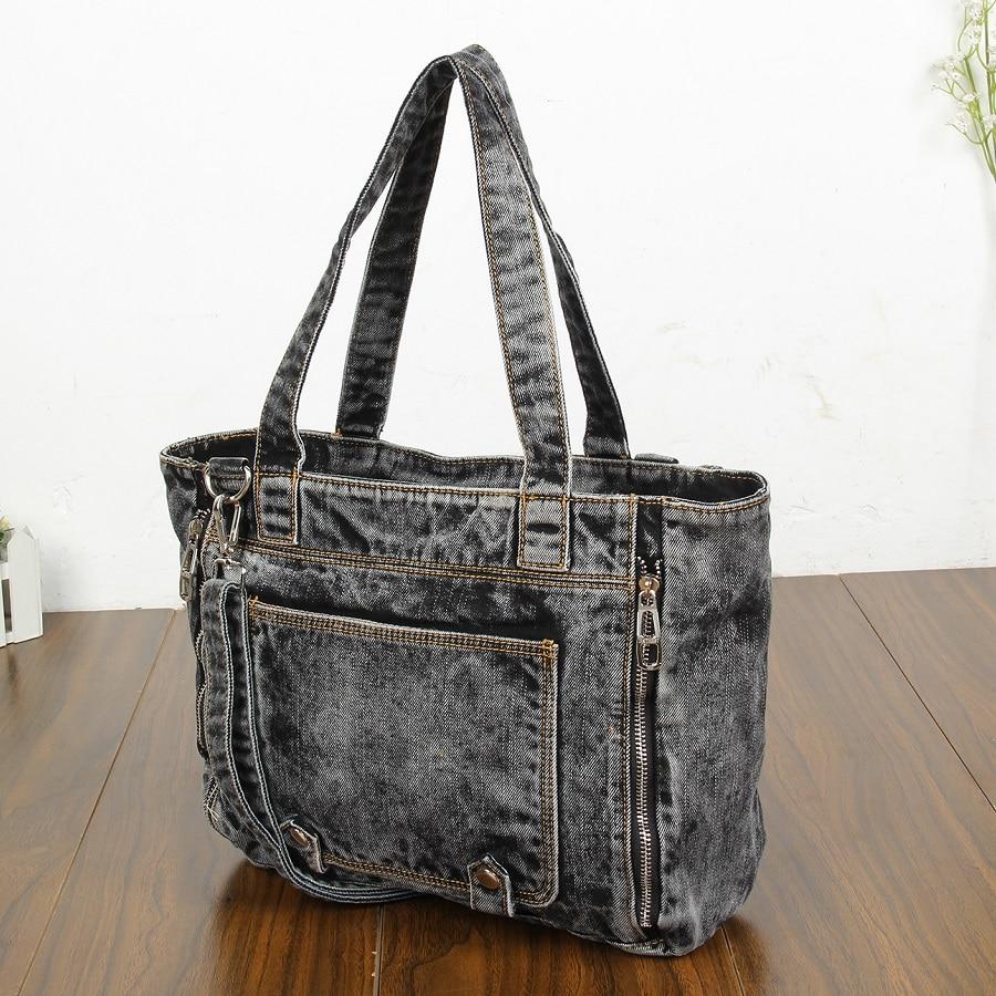 Moda casual Cremallera Diseño de moda Denim-wash Vintage Bolsas de - Bolsos - foto 2