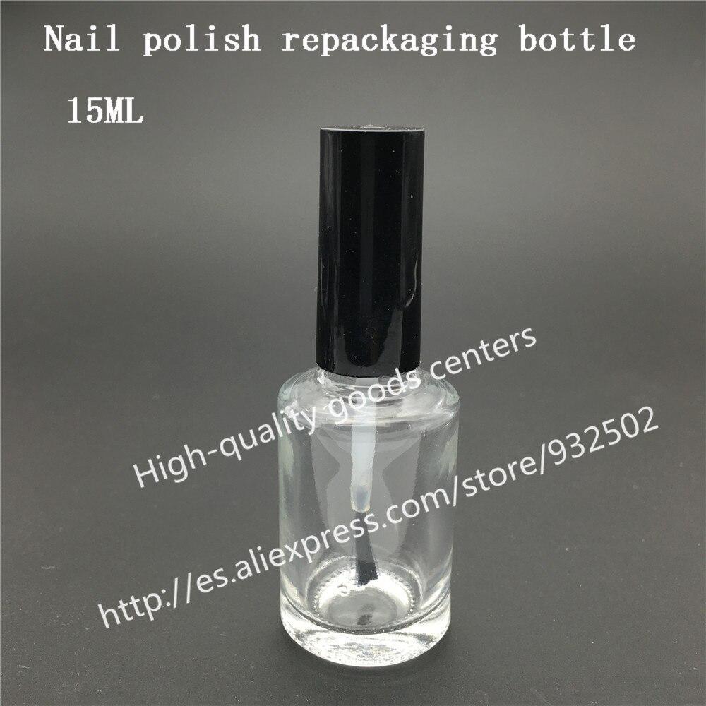 Envío gratuito 200pcs 15ml botellas de botella de esmalte de uñas cuadradas con tapa negra blanca, botella de esmalte de uñas de vidrio pequeña, botella de vidrio