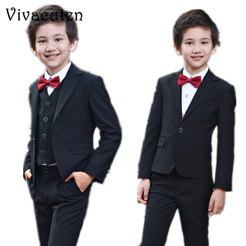 Boys Black Suits Set For Weddings Kids Prom Suits Blazer Clothes for Boys Children Clothing Sets Boy Tuexdo Boys Dresses F095