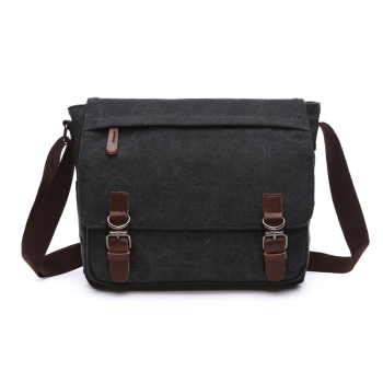 Canvas Leather Crossbody Bag Men Military Army Vintage Messenger Bags Postman Large Shoulder Bag 1