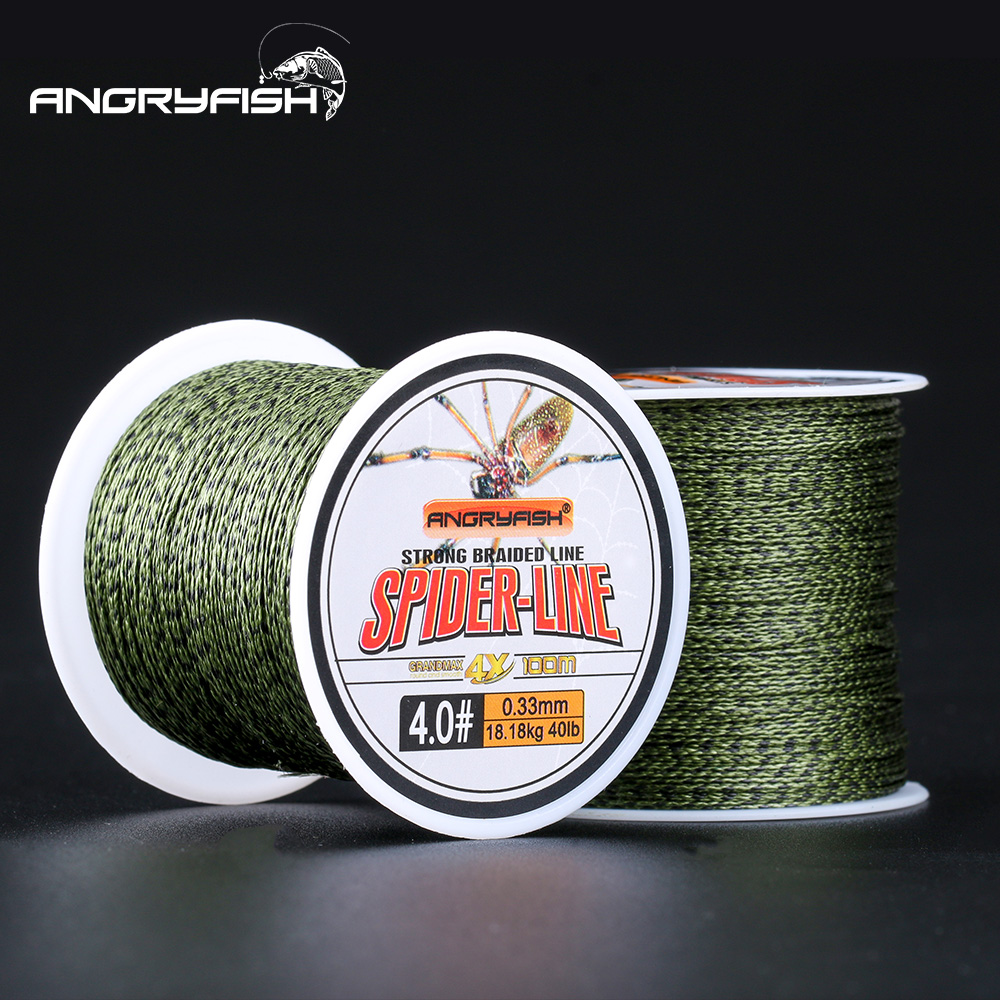 Angryfish 4 Strands Braided Line 100M 300M 500M Camo Green PE Braided 0.4#-6.0# PE Braided Multifilament Fishing Line 10-60LB