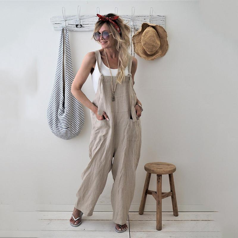 2018 New Womens Casual Loose Linen Pants Cotton   Jumpsuit   Strap Harem Trousers Overalls Overalls Loose Harem Pants Trousers