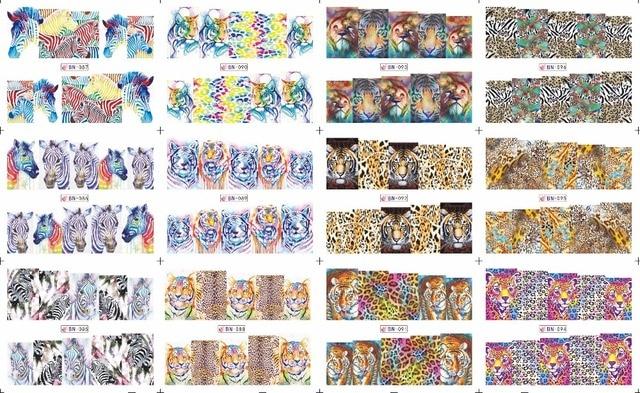 En venta!! 1 Lote = 20 hojas 12 en una hoja Nueva de Estilo Nail Art Water Sticker Colorful animal grano en 2016 para BN085-096