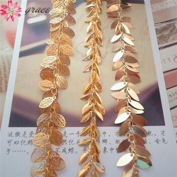 a59361f53a0e 5 m lote brillante chapado en oro Metal cadenas de hoja borlas para collar  de moda pendientes bisutería manualidades hacer accesorios Diy
