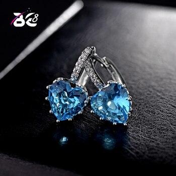 Pendientes de fiesta caliente Be 8, pendientes de aro de moda con forma de corazón de amor, pendientes de declaración de color azul para regalo de mujer E587