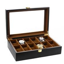Черный Деревянный бархатный роскошный бренд ювелирных изделий и часов коробка 12 слотов дизайн витрина большой держатель металлическая пряжка caixa organizadora