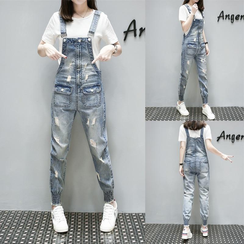 Cowboy Correa Casual Sexy Denim Verano Back Bolsillos Mujer Azul Rompers Pantalones Jeans 2018 Harem Moda Europa Suelta 5z670nqvw