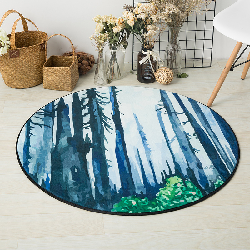 Watercolor Forest Landscape Printed Round Carpet Rugs Nordic Style Living Room Chair Computer Floor Mats Non-Slip Home Decor Mat