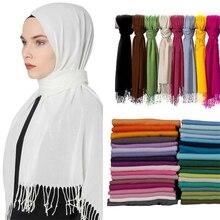 Летний женский хиджаб шарф тонкие шали и палантины Женские однотонные хиджаб палантины длинные кашемировые пашмины платки на голову шарфы