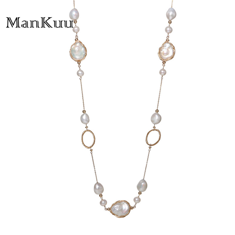 ManKuu New Design Baroque Pearl Necklace Natural Freshwater Round Shape Long Pearl Necklace 14K Gold Chain Jewelry For Women delicate faux pearl hollow out ball shape necklace for women