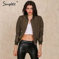 Simplee Apparel Winter parkas cool basic bomber jacket Women Army Green down jacket coat Padded zipper chaquetas biker outwear