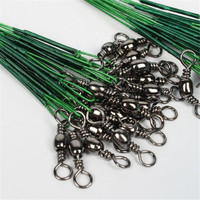 100 Pcs Fishing Trace Lures Leader Steel Wire Spinner 16 18 22 24 28cm Green Wholesale