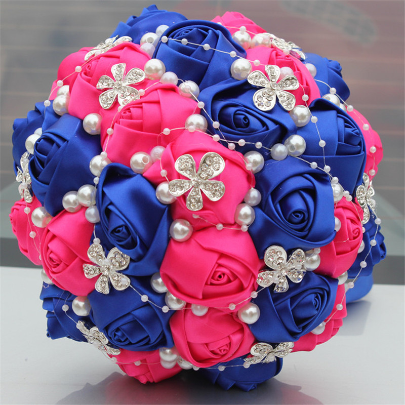 Royal Blue Fuchsia Satén Rose Bouquet Flor Diamante de la boda Nupcial Bouquet Espuma Bola Artificial Flor Decoración Casada W224-5